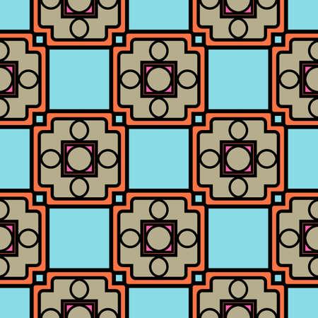 Illustration pour Color decorative seamless pattern with geometric ornamnet. Vector illustration. - image libre de droit