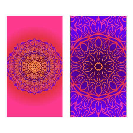 Illustration pour Decorative invitation template with mandala decoration. Vector illustration. - image libre de droit