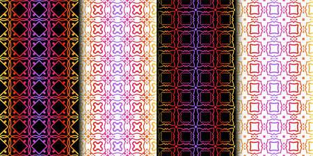 Illustration pour Set of Seamless Geometrical Linear Texture. Original Geometrical Puzzle. Backdrop. Vector illustration - image libre de droit