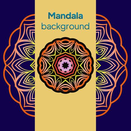 Illustration pour Yoga Card Template With Mandala Pattern. For Business Card, Fitness Center, Meditation Class. Vector Illustration. - image libre de droit
