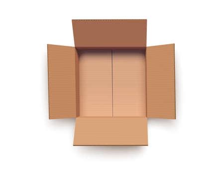 Illustration pour Empty open cardboard box isolated on white vector illustration - image libre de droit