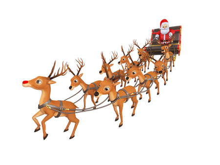 3d rendered illustration of santa with his sleigh
