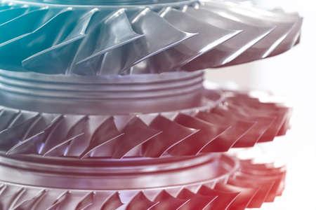Photo pour Turbine Engine. Aviation Technologies. Aircraft jet engine detail in the exposition. Blue toned. - image libre de droit
