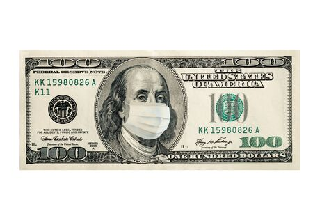 Photo pour Concept, one hundred dollars with Benjamin Franklin masked by a virus. Coronavirus protection. - image libre de droit