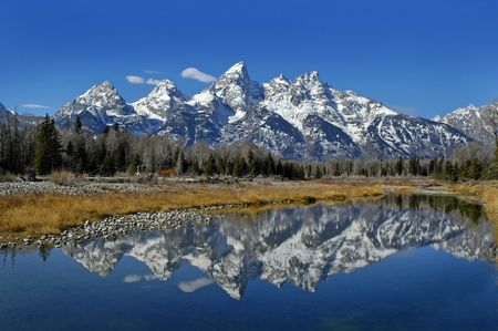 Teton mountain range reflecting in river water with surrounding plants and trees