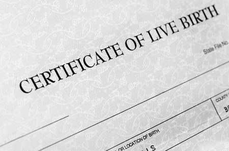 Photo pour Closeup detail of birth certificate form to be filled out when baby is born - image libre de droit
