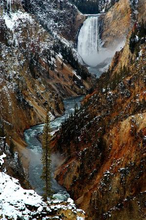 Lower yellowstone falls waterfall gorge canyon steep water river