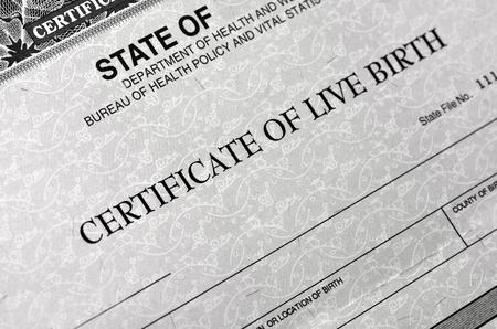 Photo pour Birth Certificate for live baby born - image libre de droit