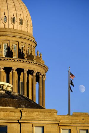 Idaho State Capitol Building governing government dome structure legal laws moon sky flags