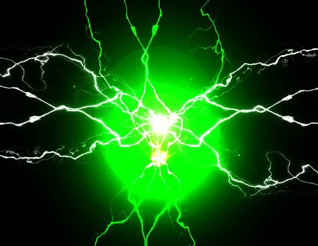 Photo for Green energy with electrical electricy plasma power crackling fusion bolts - Royalty Free Image