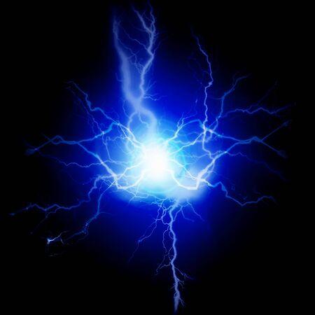 Photo pour Exploding bolts of lightning electricity energy blue pure power - image libre de droit