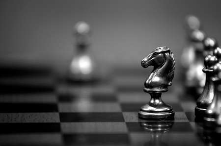 Photo pour Pieces on chess board for playing game and strategy - image libre de droit