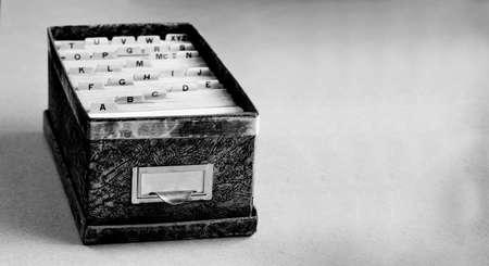 Photo pour Index cards organized in a row by letter of the alphabet - image libre de droit