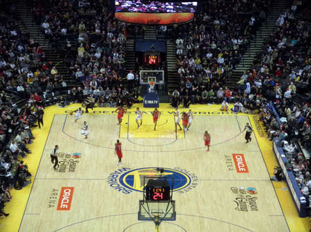 OAKLAND, CA - DECEMBER 25: Portland Blazers vs. Golden State Warriors: Players begin sprinting down the the court during fastbreak at the Oracle Arena taken December 25, 2010 Oakland California.
