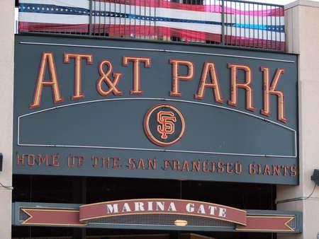 SAN FRANCISCO - OCTOBER 10: AT&T Park Home of the Giants - Sign taken on October 10 2010 at Att Park in San Francisco California.