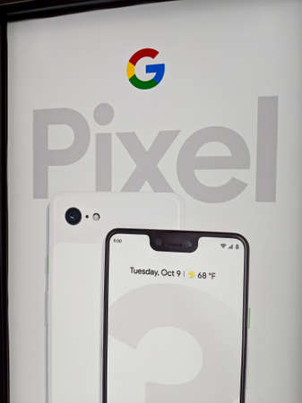 Honolulu -  March 16, 2019:  Google Pixel 3 and XL Sign inside Best Buy Store.  Google LLC is an American multinational technology company that specializes in Internet-related services and products, which include online advertising technologies, search en
