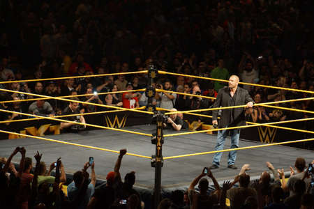 Photo pour SAN JOSE - MARCH 27: WWE Superstar Legend Triple H holds ring rope as he stands in the ring at the San Jose Event Center in San Jose, California on March 27, 2015. - image libre de droit
