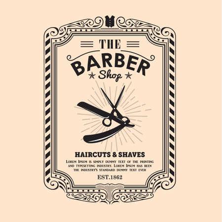Illustration pour vintage frame border retro design label barber shop vector - image libre de droit