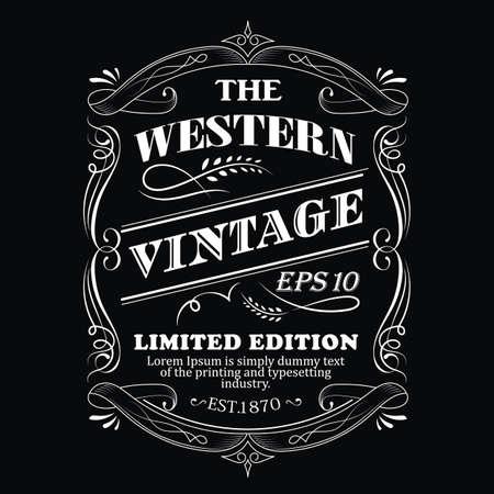 Illustration pour Hand drawn frame Western label blackboard antique typography border vintage vector illustration - image libre de droit