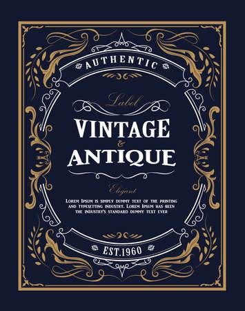 Hand drawn frame Western vintage label Antique banner flourishes design vector illustration