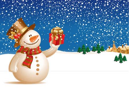 Cute snowman on Christmas day