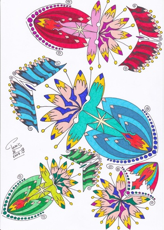 motif abstrait bleus