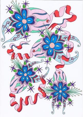 motif abstrait quatre bleu