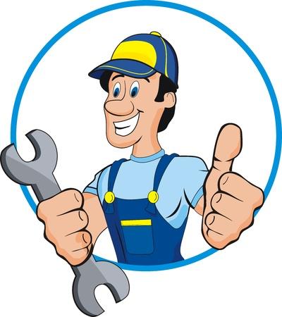 Cartoon mechanic with tools