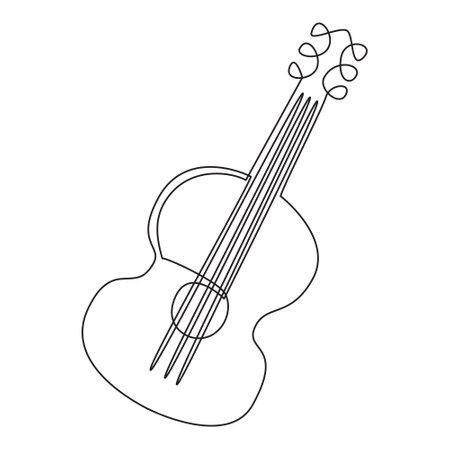 Illustration pour Single continuous line drawing of a guitar, line art. Black and white contour vector illustration of a guitar. For poster, print, postcard. Design of music stores, festivals, flyers, invitations - image libre de droit