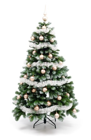 Artificial christmas tree isolated on white, decorated with golden ornaments and silver garland