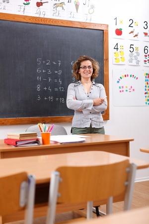 Happy elementary teacher standing in empty class room