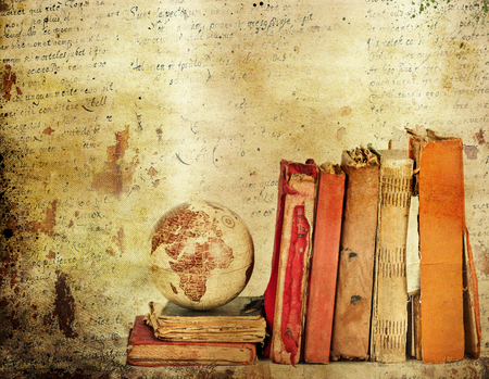 Vintage background with old books. Back to school concept