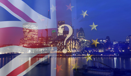 Photo pour Brexit concept - UK economy after Brexit deal -  double exposure of flags and London business center - image libre de droit