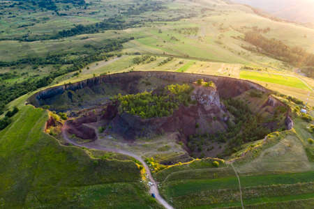 Photo for Aerial view of  Racos volcanic crater in the sunrise, Brasov county, Romania - Royalty Free Image
