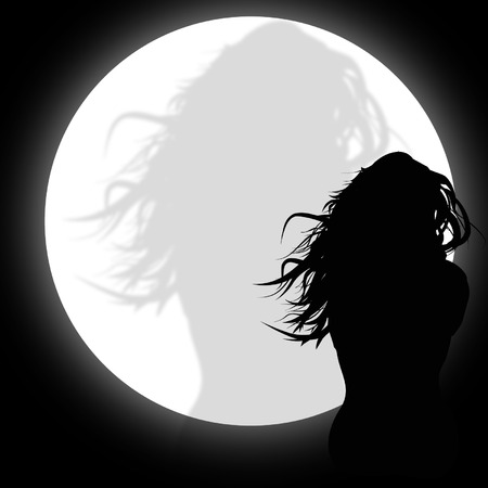 Silhouette of a woman in the moonlight