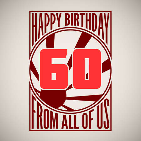 Retro poster. Birthday greeting, sixty years, vector banner.