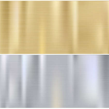 Shiny brushed metal plates. Stainless steel background, vector illustration for you