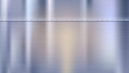 Illustration pour Metal background with texture and rivets. Polished riveted metal sheets. Panel with reflections and blurred reflections. - image libre de droit