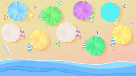 Aerial view on summer filled beach in paper craft style. Top view on seashore with sun umbrellas, deck chairs, balls, swimming ring, surfboard, sandals, starfish. Background template for cover.