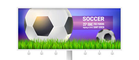 Billboard with modern sport banner for soccer tournament, competition or championship. Football balls on field of stadium in green grass.Realistic soccer balls close up. Vector 3d illustration