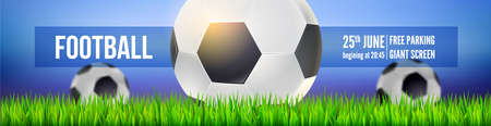 Football balls on field of sport arena in green grass close up on background of night sky. Modern sport banner for soccer tournament, competition or championship. Vector template. 3d illustration