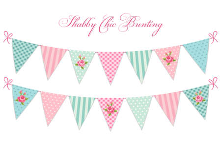 Illustration pour Cute vintage shabby chic textile bunting flags ideal for baby shower, wedding, birthday - image libre de droit