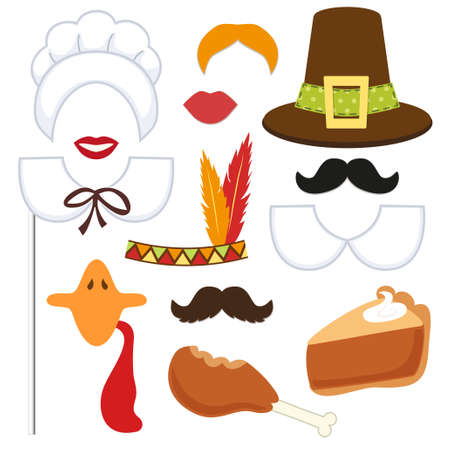 Illustration for Cute set of Thanksgiving photo booth props - Royalty Free Image