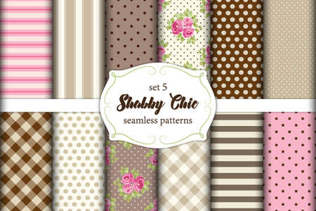 Illustration pour Set of 12 cute Shabby Chic patterns with roses, polka dot and plaid, ideal for kitchen textile or bed linen fabric or interior wallpaper design, can be used for scrap booking paper etc - image libre de droit