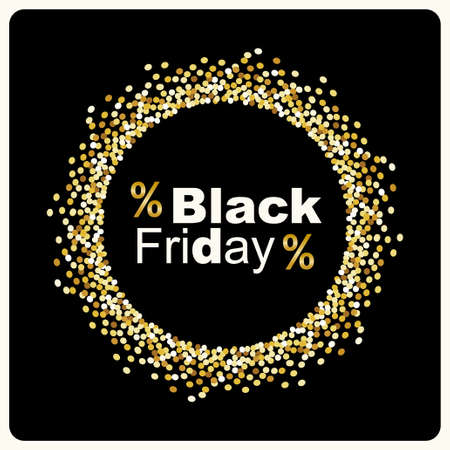 Ilustración de Luxury Black Friday background with gold glitter confetti frame for your decoration - Imagen libre de derechos