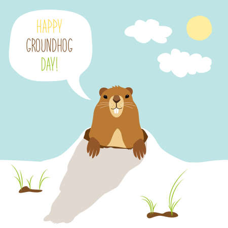 Illustration pour Cute Groundhog Day card as funny cartoon character of marmot with speech bubble and hand written text - image libre de droit