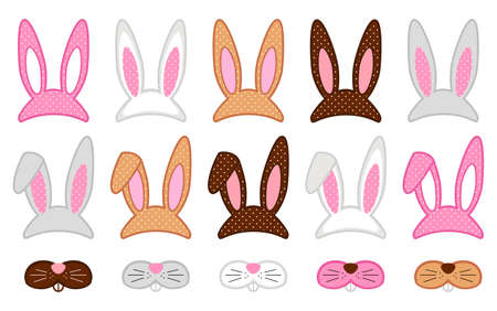 Illustration pour Cute Easter photo booth props as set of party graphic elements of easter bunny costume - image libre de droit