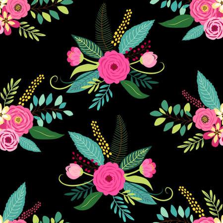 Ilustración de Cute seamless pattern with vintage elements as rustic hand drawn first spring flowers for your decoration - Imagen libre de derechos