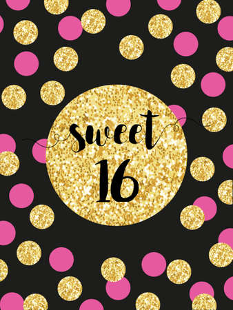 Illustration for Cute festive bright sweet sixteen card with golden glitter confetti - Royalty Free Image