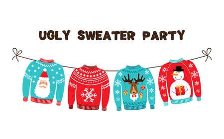 Illustration pour Cute banner for Ugly Sweater Christmas Party for your decoration - image libre de droit